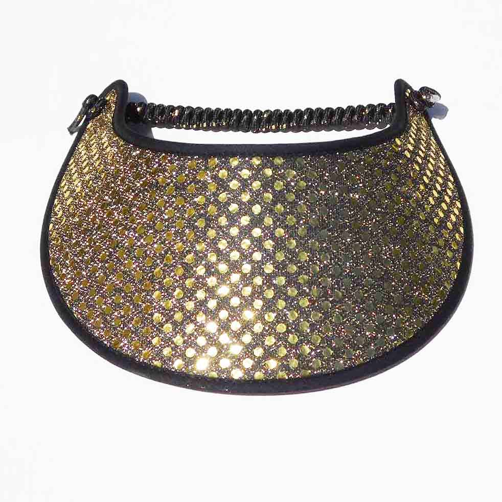 Fabric Foam Sun Visor with Glitz - Black & Gold