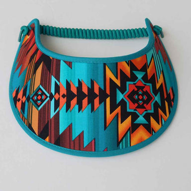 Fabric Foam Sun Visor with Miracle Coil Lace - Bright Aztec Pattern