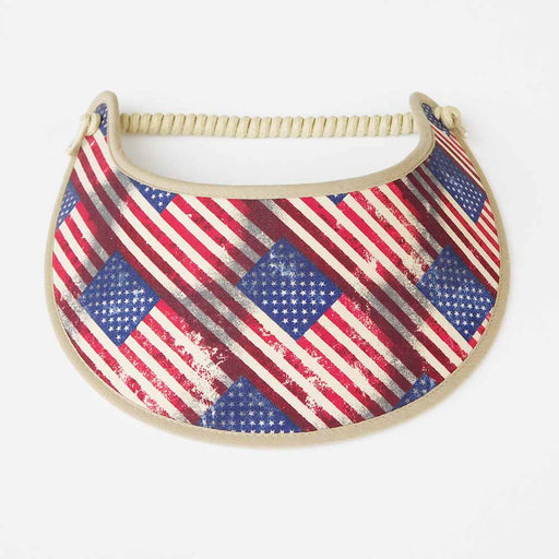 Fabric Foam Sun Visor with Miracle Coil Lace - Antiqued US Flag