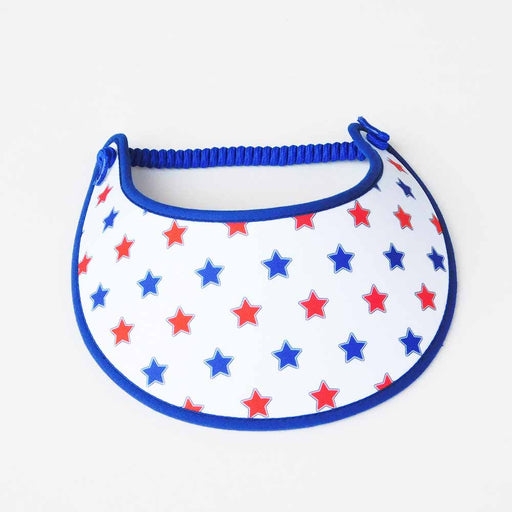 Fabric Foam Sun Visor with Miracle Coil Lace - Red, White, Blue Stars