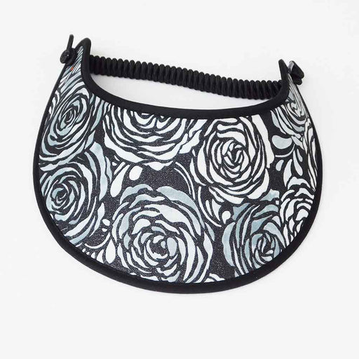 Fabric Foam Sun Visor with Miracle Coil Lace - Black and White Rose