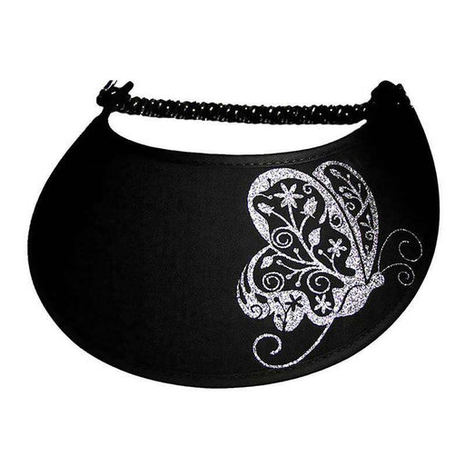 Fancy Butterfly Glitz Fabric-Foam Sun Visor