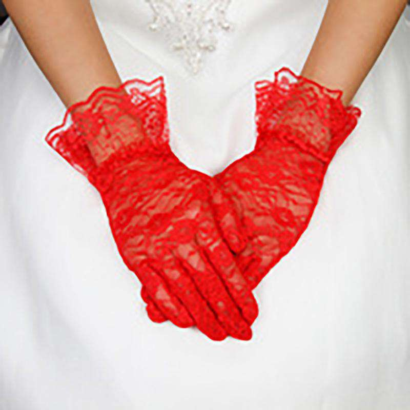 Lace Gloves with Wide Ruffle Trim