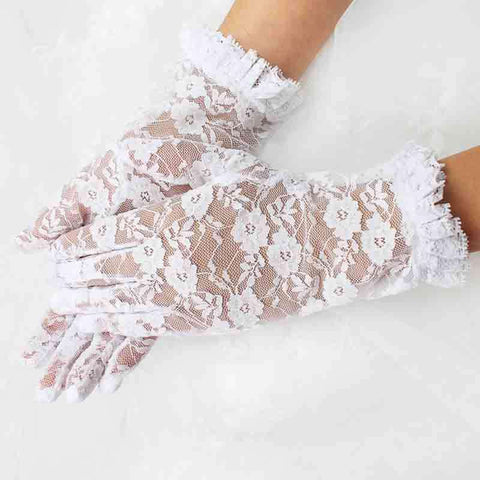 White Lace Gloves with Ruffle Trim