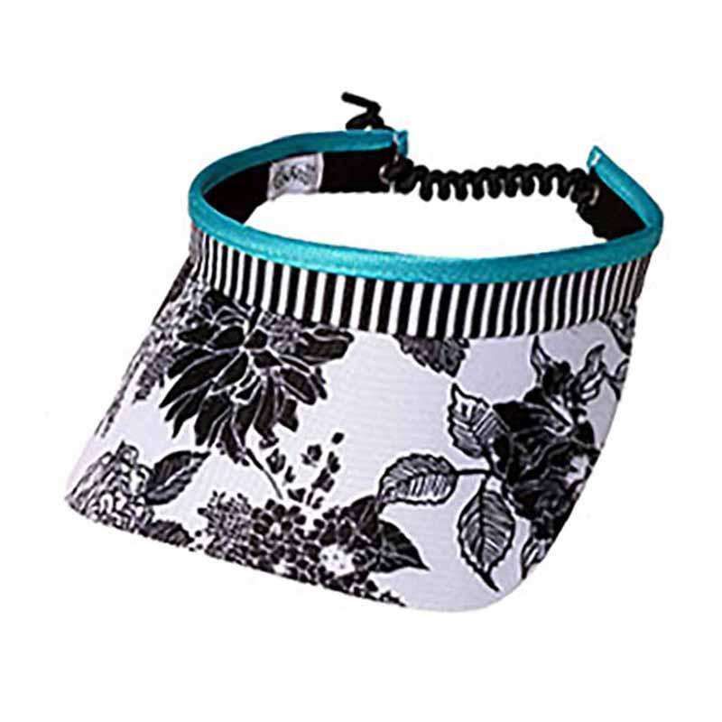 Black and White Rose Golf Sun Visor with Coil Lace by GloveIt - SetarTrading Hats