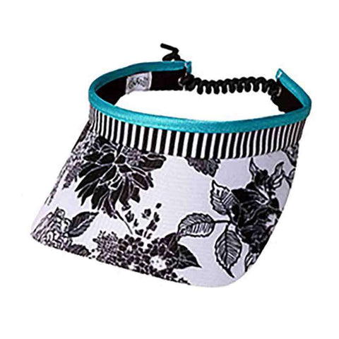 Black and White Rose Golf Sun Visor with Coil Lace by GloveIt