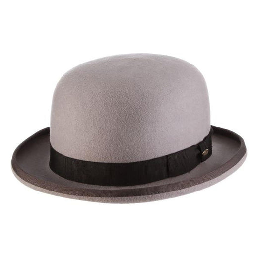 Grey Structured Wool Felt Bowler Hat - Scala Men's Hats