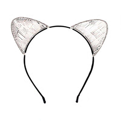 Cat Ear Headband with Wire and Stone Accent
