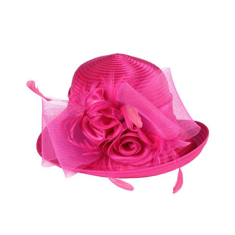 Satin Braid Hat with Rose and Feathers