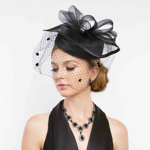 Satin Braid Pillbox Hat with Netting Veil - Something Special