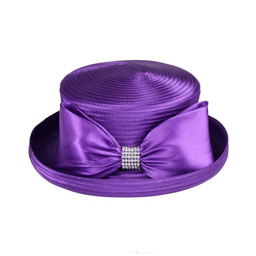 Satin Braid Bowler Style Church Hat with Bow and Rhinestone Loop - SetarTrading Hats