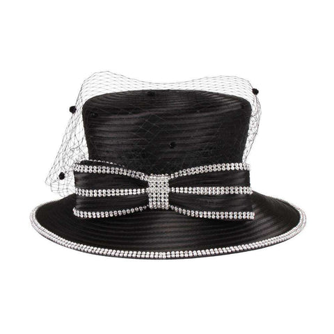 Rhinestone Bow Church Hat with Dotted Netting