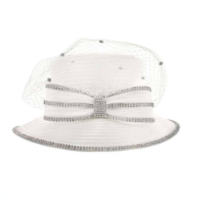 Rhinestone Bow Church Hat with Dotted Netting - SetarTrading Hats