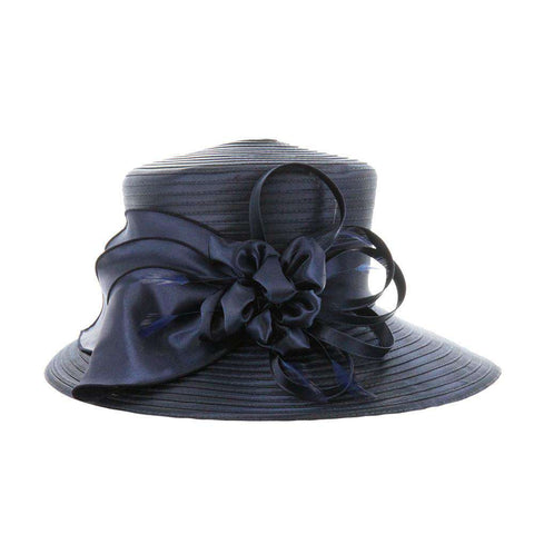 Satin Braid Hat with Satin Flower