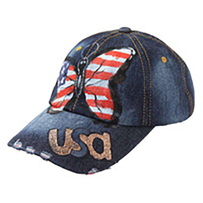 Painted USA Butterfly Denim Cap