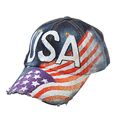 Painted USA Flag Denim Cap
