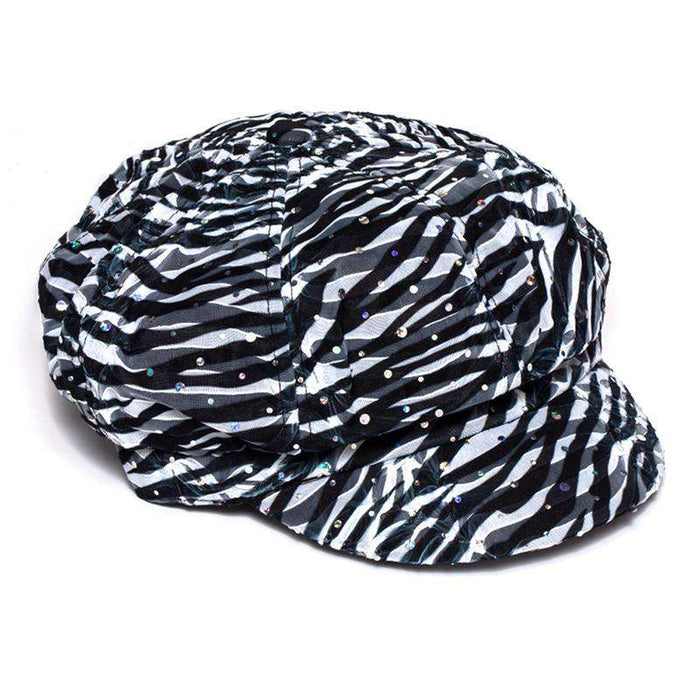 Glitter Striped Newsboy Cap