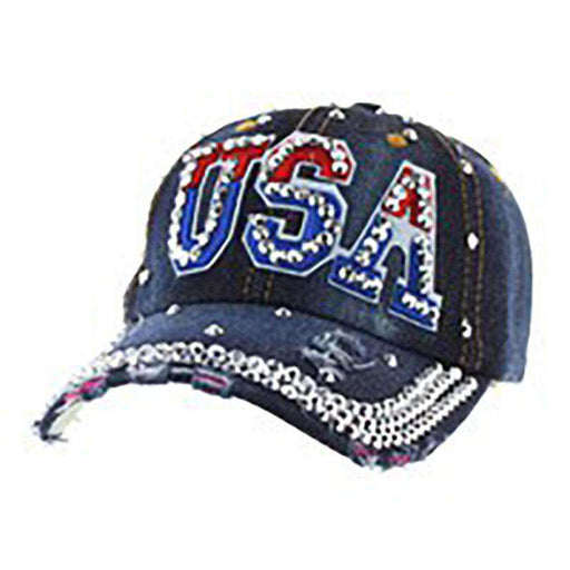 Red White and Blue USA Denim Cap with Silver Studded Bill