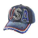 Red White and Blue USA Stone Denim Cap