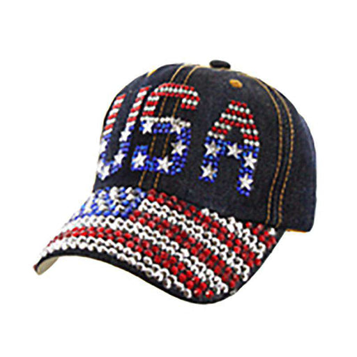 USA Flag Stone Denim Cap - Americana Collection