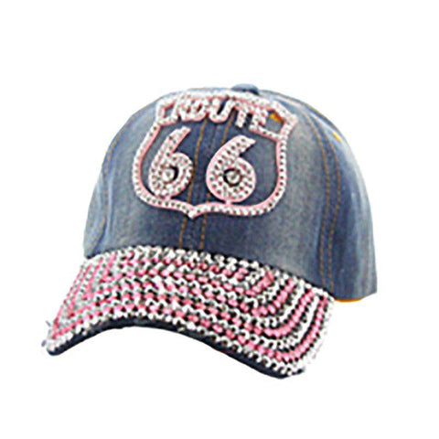 Denim Route 66 Baseball Cap