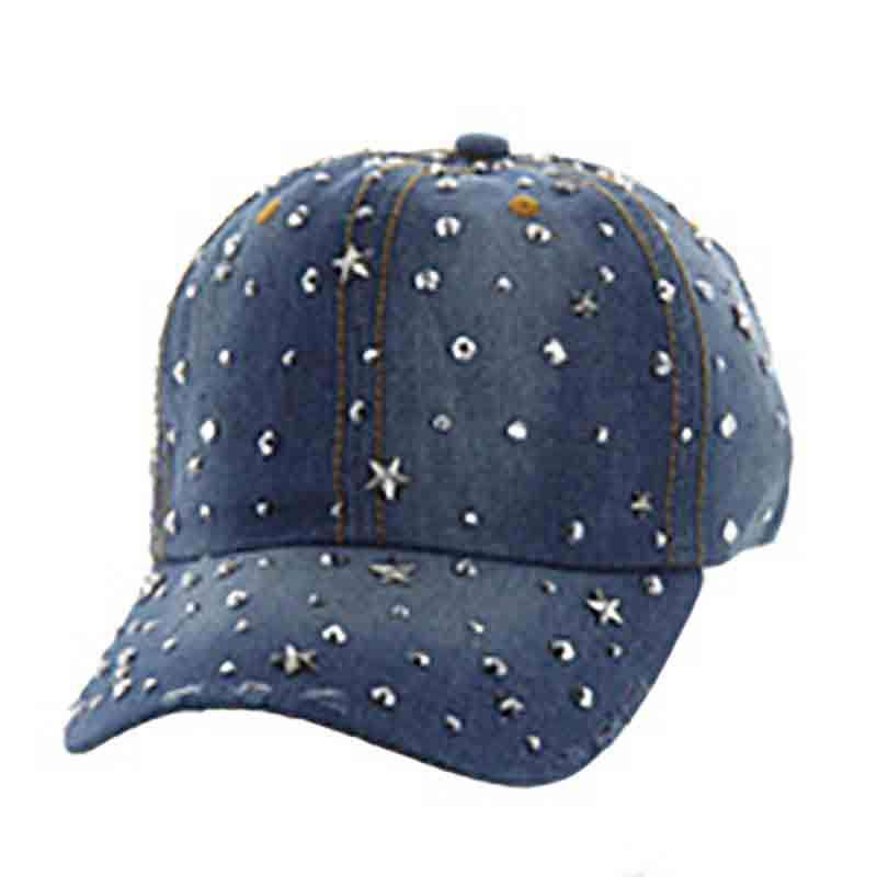Star Studded Denim Baseball Cap  034dea00261