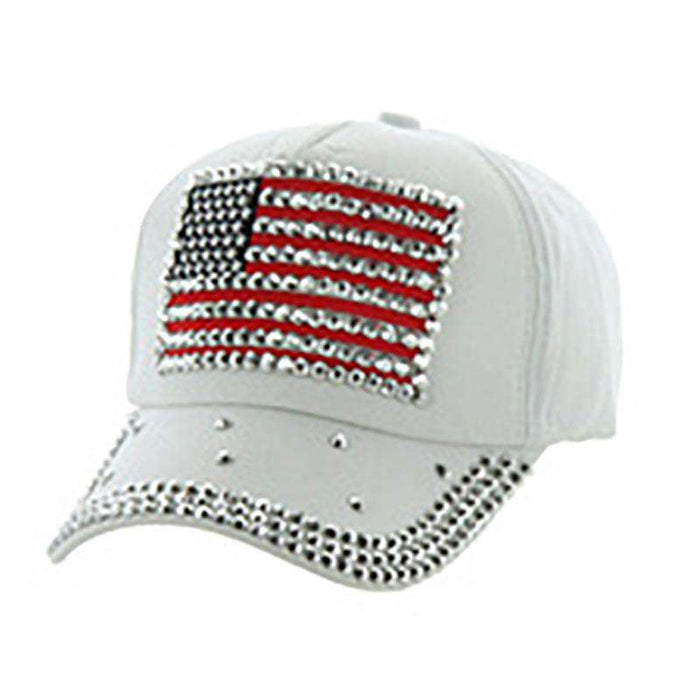 Studded US Flag Baseball Cap - Red, White and Blue Collection