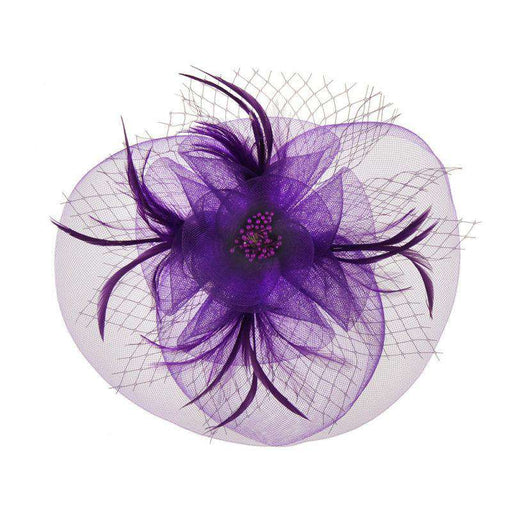 Round Mesh Flower and Netting Fascinator - SetarTrading Hats