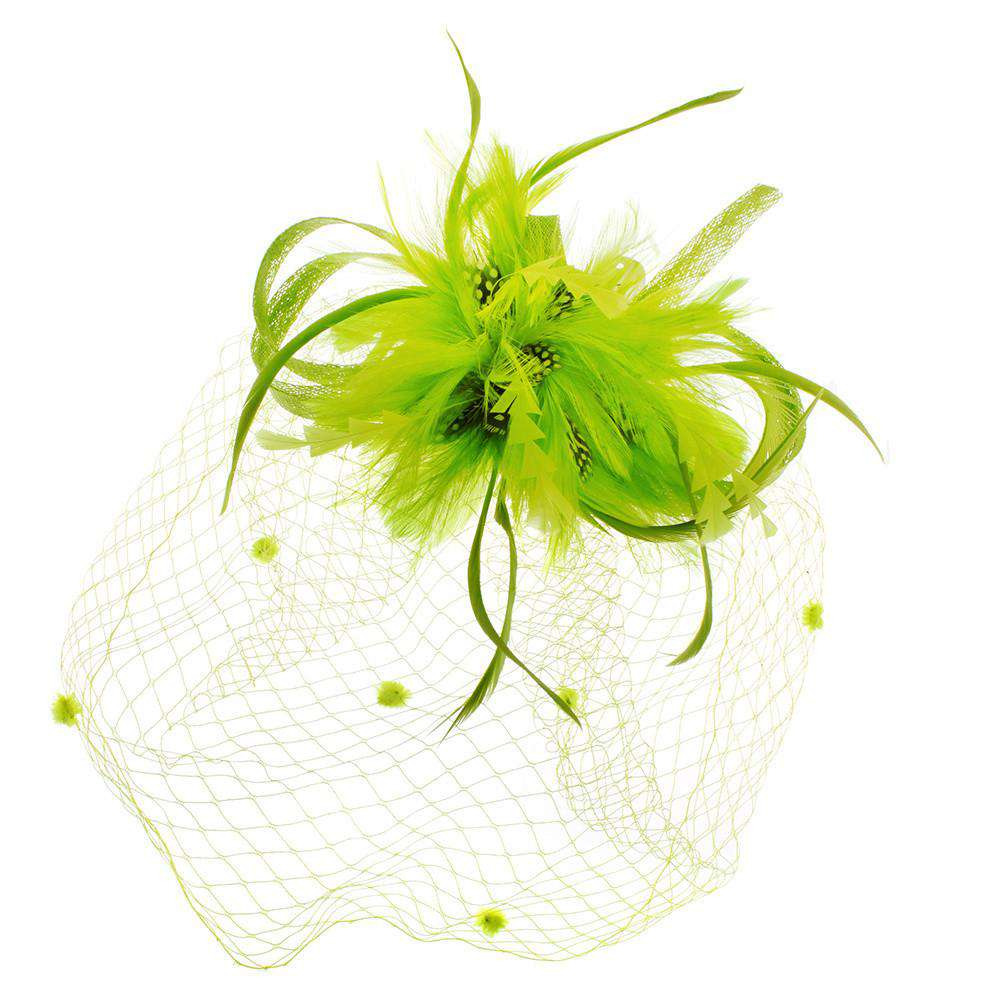 Feather Flower with Veil Fascinator - SetarTrading Hats
