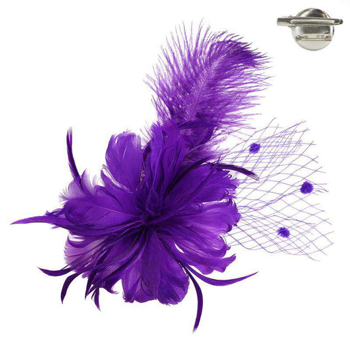 Long Feather Fascinator - Brooch Clip