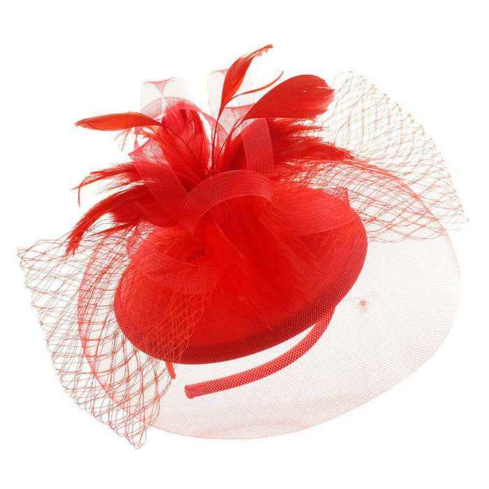 Satin Fascinator with Feather and Netting - SetarTrading Hats