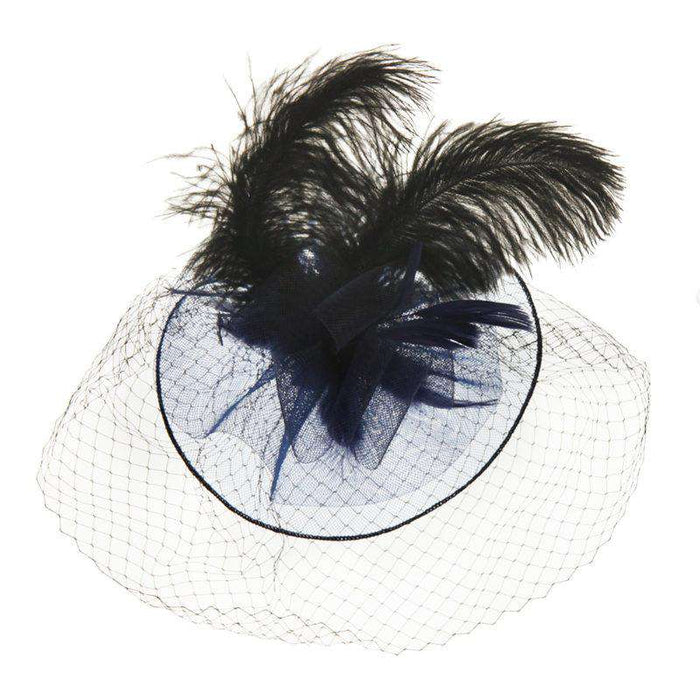 Large Feather Veil Fascinator - SetarTrading Hats