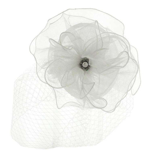 Rhinestone Gem Center Fascinator with Netting Veil