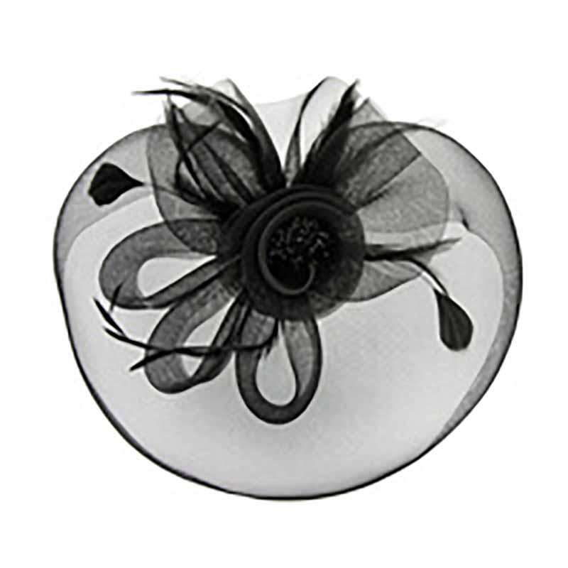Mesh Veil Bead Center Flower Fascinator