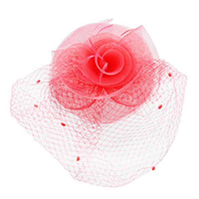 Dotted Netting Veil Spiral Flower Fascinator - SetarTrading Hats