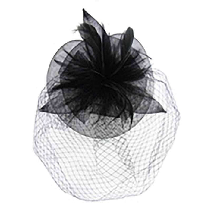 Large Feather Flower Fascinator with Netting Veil