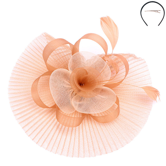 Pleated Mesh Two Tone Flower Fascinator