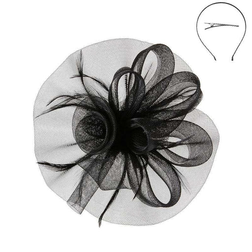 Medium Wavy Mesh Fascinator with Rose Center - Sophia Collection