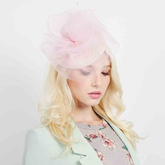 Woven Pillbox Cocktail Hat with High Tulle Accent - Sophia Collection