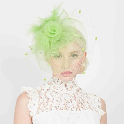 Three Flower Mesh and Netting Veil Fascinator - Something Special