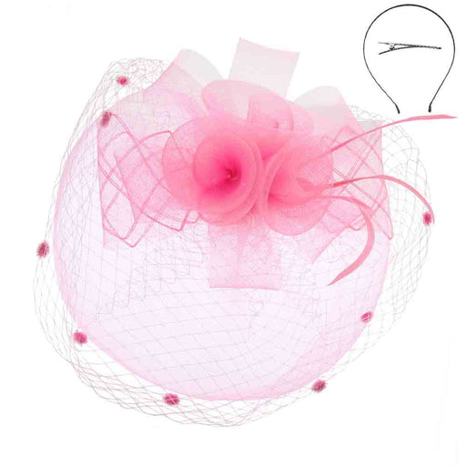 Triple Flower and Bow Double Veil Fascinator - Something Special