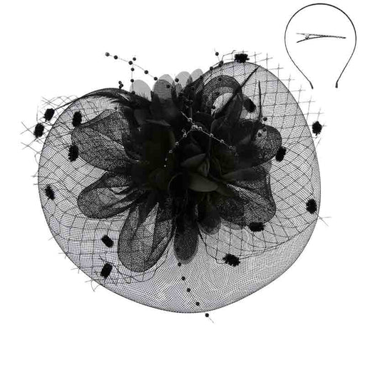 Satin Flower Dotted Netting Fascinator Headband - Something Special