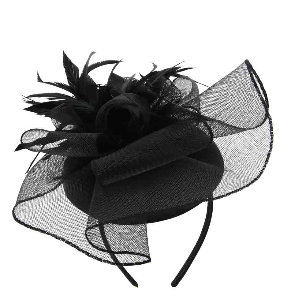 Satin Pillbox Cocktail Hat with Feather Flower - Sophia Collection