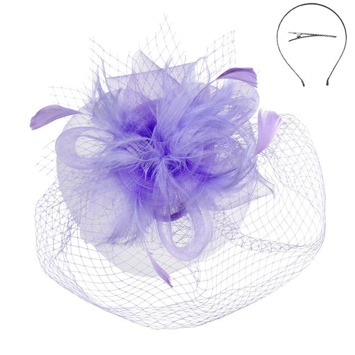 Double Veil Feather Rose Fascinators - Sophia Collection