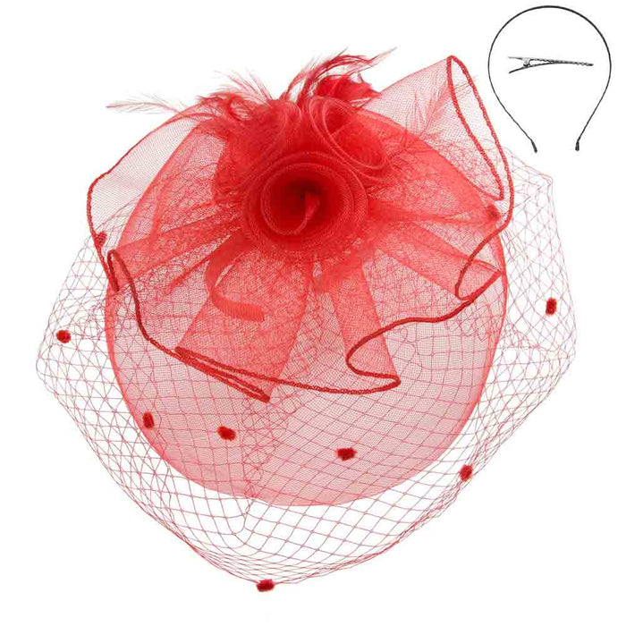 Triple Flower Double Veil Feather Fascinator - Something Special