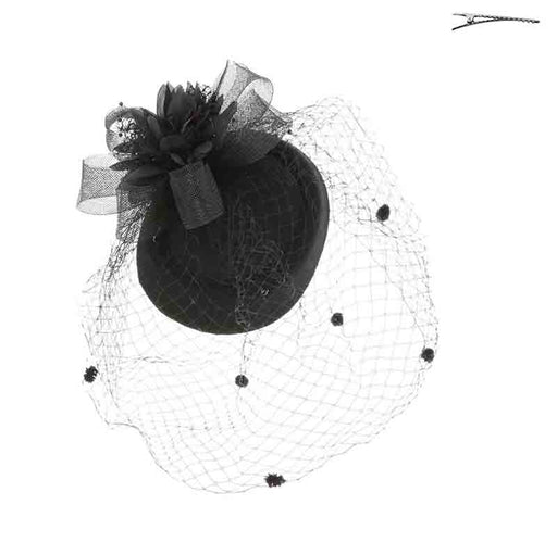 Pillbox Fascinator Cocktail Hat with Dotted Netting Veil - Something Special
