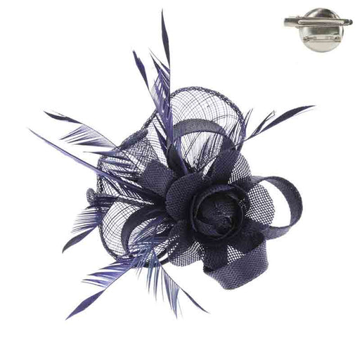 Rose and Feather Woven Fascinator Brooch Pin - Something Special