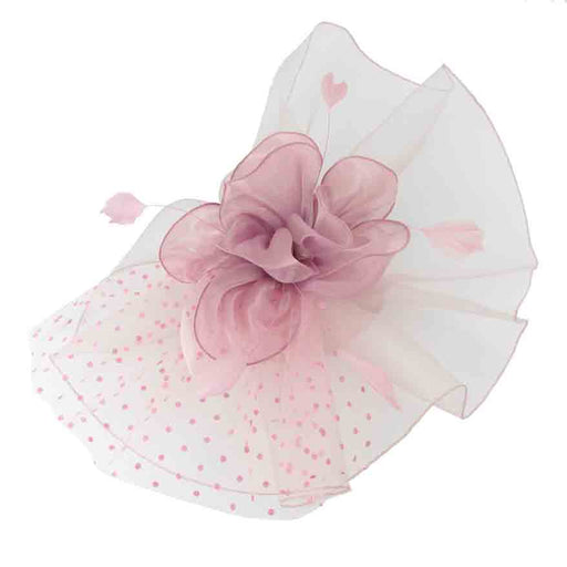 Large Wavy Mesh Fascinator with Silky Floral Center - Sophia Collection