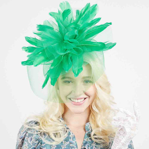 Large Derby Statement Feather and Veil Fascinators - Something Special