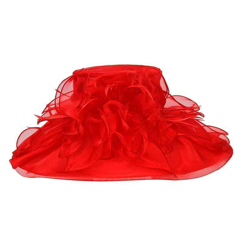 Large Organza Hat with Feather and Flower - Something Special